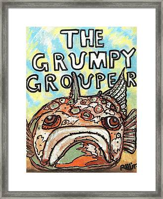 The Grumpy Grouper Framed Print by Robert Wolverton Jr