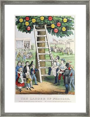 The Ladder Of Fortune Framed Print by Currier and Ives