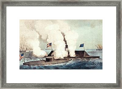 The Monitor And The Merrimac, 1862 Framed Print by Photo Researchers