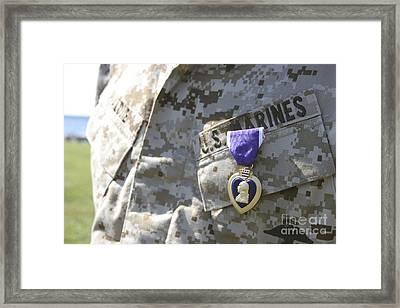 The Purple Heart Award Hangs Framed Print by Stocktrek Images