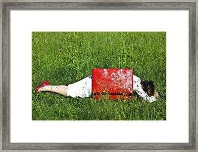The Red Suitcase Framed Print by Joana Kruse