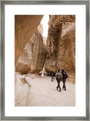 The Slot Canyons Leading Into Petra Framed Print by Taylor S. Kennedy