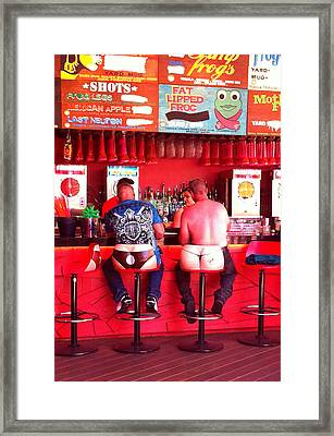 Thongs In Red Framed Print by Donna Spadola