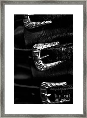 Three Buckle Belt  Framed Print by Wilma  Birdwell
