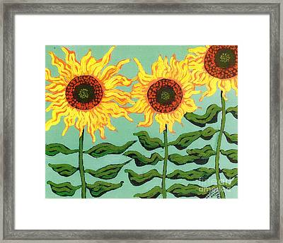 Three Sunflowers Framed Print by Genevieve Esson