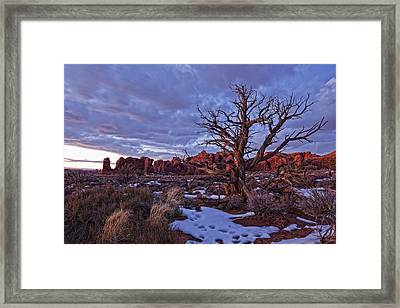 Timed Exposure Of Sunset Clouds Framed Print by Robert Postma