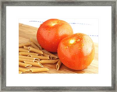 Tomatoes And Pasta Framed Print by Blink Images