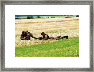 Two Soldiers Of The Belgian Army Framed Print by Luc De Jaeger
