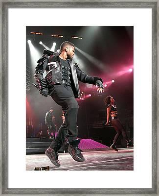 Usher On Stage For Usher In The Omg Framed Print by Everett