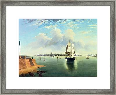 View Of New York From Bedloes Island Framed Print by Joseph B Pringle