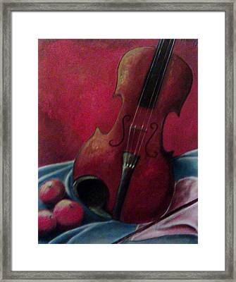 Violin With Apples Framed Print by Melissa Cruz