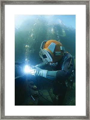 Welding Underwater Framed Print by Alexis Rosenfeld