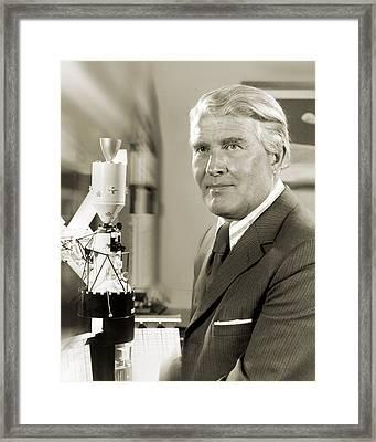 Wernher Von Braun, German Rocket Pioneer Framed Print by Nasavrs