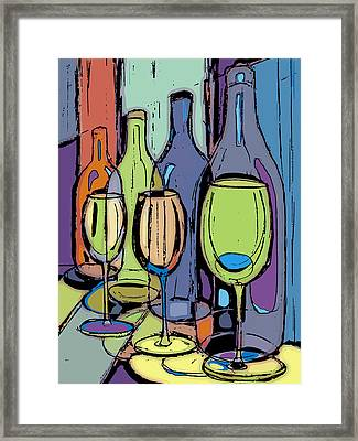 Wine Bottles And Glasses IIi Framed Print by Peggy Wilson