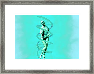 Woman And Dna Framed Print by Christian Darkin