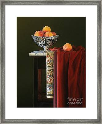 Yellow Silver And Red Framed Print by Barbara Groff