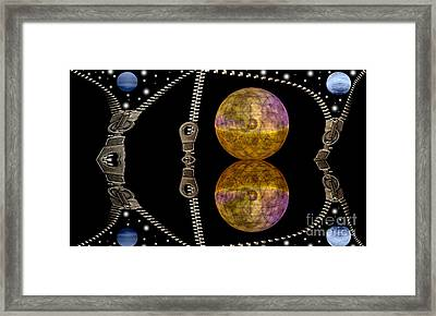 Zippers And Planets Framed Print by Odon Czintos
