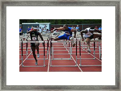 100 Meters Men's Hurdles Framed Print by Mike Martin