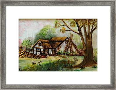 1128b Cottage Painted On Top Of Gold Framed Print by Wilma Manhardt