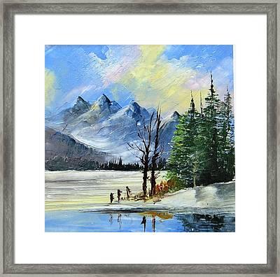 1130b Mountain Lake Scene Framed Print by Wilma Manhardt