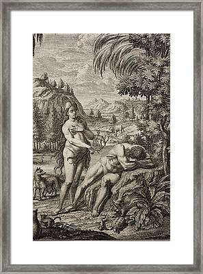 1731 Scheuchzer Creation Adam's Rib & Eve Framed Print by Paul D Stewart