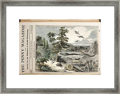 1833 Penny Magazine Extinct Animals Color Framed Print by Paul D Stewart