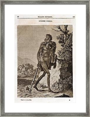 1838 Cave Man Engraving 'l'homme Fossile' Framed Print by Paul D Stewart