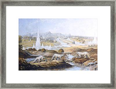 1854 Crystal Palace Dinosaurs By Baxter 2 Framed Print by Paul D Stewart