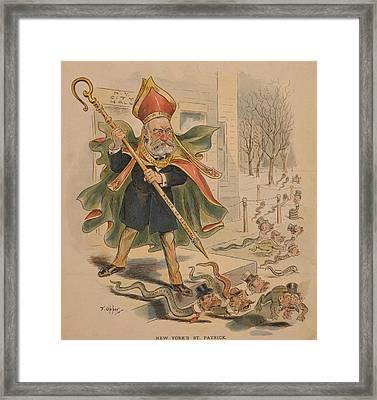 1895 Political Cartoon Of New York Framed Print by Everett