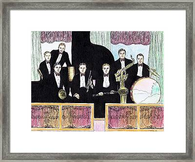 1920s Jazz Band With Curtains Framed Print by Mel Thompson