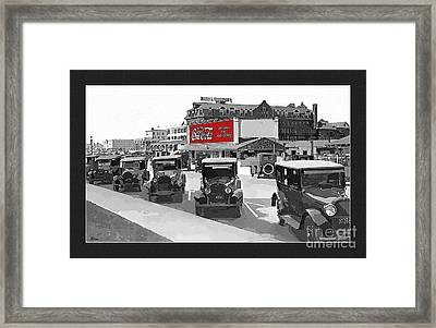 1924 Vintage Automobiles Parked At Atlantic City Framed Print by Anne Kitzman