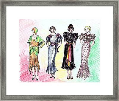 1930s Dresses Framed Print by Mel Thompson