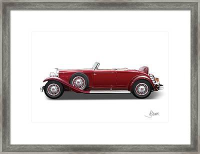 1932 Packard On White Framed Print by Alain Jamar