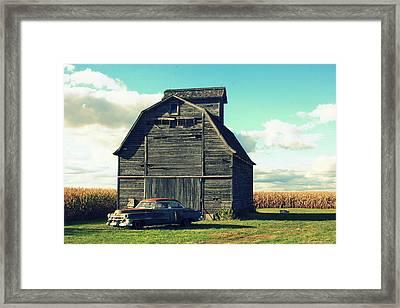1950 Cadillac Barn Cornfield Framed Print by Lyle Hatch