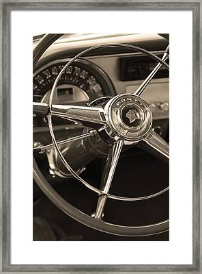 1953 Pontiac Steering Wheel - Sepia Framed Print by Jill Reger