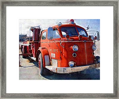 1954 American Lafrance Classic Fire Engine Truck Framed Print by Kathy Clark