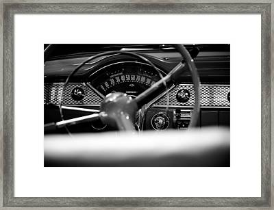 1955 Chevy Bel Air Dashboard In Black And White Framed Print by Sebastian Musial