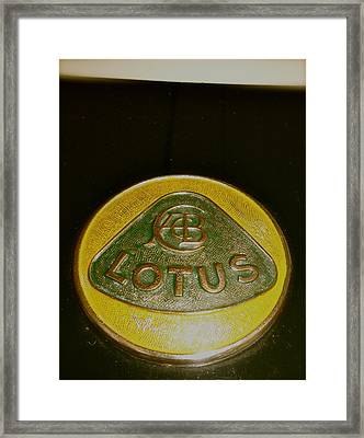 1958 Lotus Climax 16 Hood Badge Framed Print by John Colley