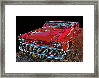 1958 Red Chevrolet Impala Convertible Framed Print by Samuel Sheats