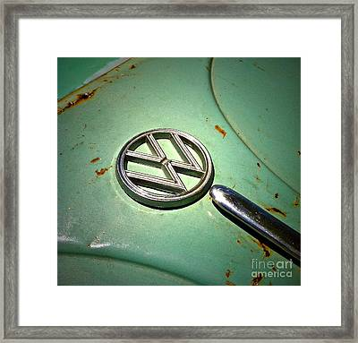 1961 Green Vw Framed Print by Gwyn Newcombe