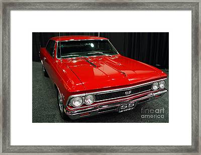 1966 Chevy Chevelle Ss 396 . Red . 7d9280 Framed Print by Wingsdomain Art and Photography