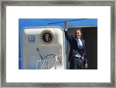 Barack Obama At A Public Appearance Framed Print by Everett