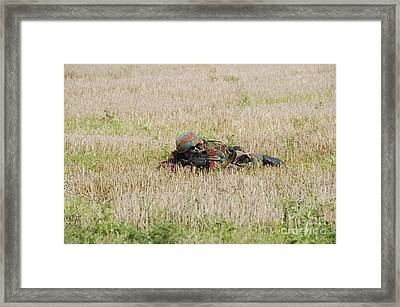 Belgian Paratroopers On Guard Framed Print by Luc De Jaeger