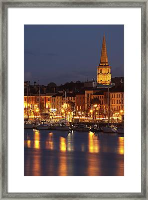 Boats Moored On River Suir At City Framed Print by Trish Punch
