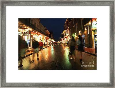 Bourbon Street At Dusk Framed Print by Thomas R Fletcher