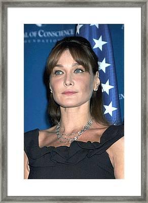 Carla Bruni Sarkozy In Attendance Framed Print by Everett