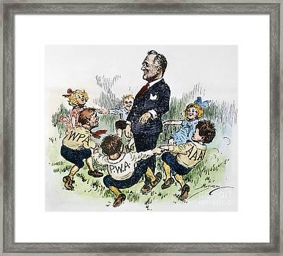 Cartoon: New Deal, 1935 Framed Print by Granger