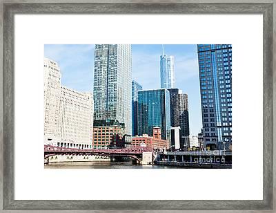 Chicago River Skyline Framed Print by Paul Velgos