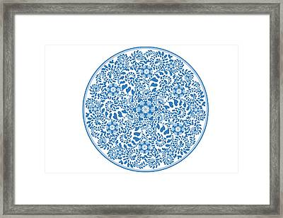 Chinese Traditional Blue And White Porcelain Style Pattern Framed Print by BJI Blue Jean Images