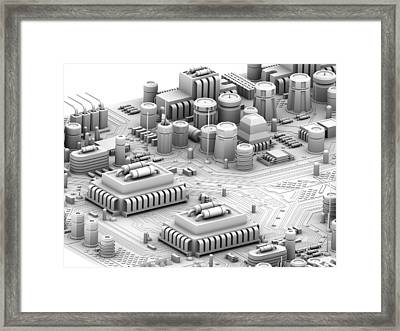 Circuit Board, Artwork Framed Print by Pasieka